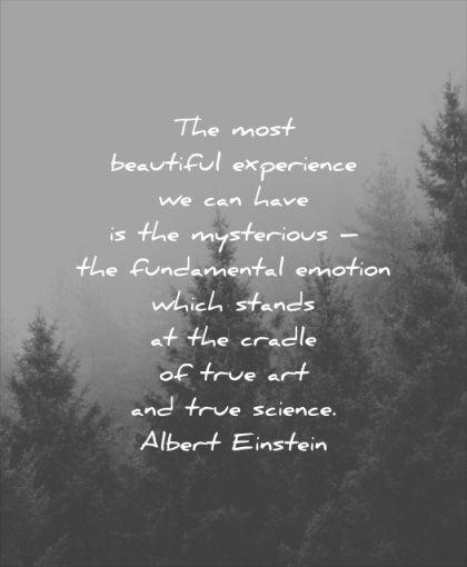 beautiful quotes most experience have mysterious fundamental emotion which stands cradle true art science albert einstein wisdom tree nature mist