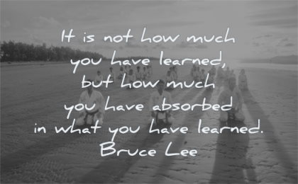 bruce lee quotes how much have learned but absorbed what learned wisdom karate beach people sun