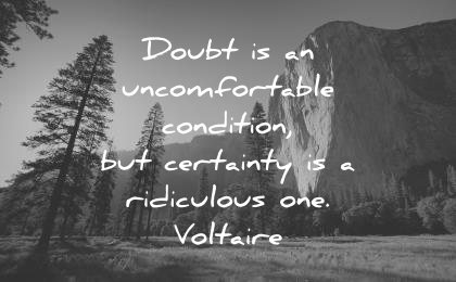 deep quotes doubt uncomfortable condition certainty ridiculous one voltaire wisdom yosemite nature trees mountains sun beautiful sky