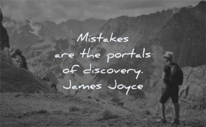 failure quotes mistakes portals discovery james joyce wisdom man hiking
