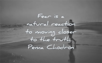 fear quotes natural reaction moving closer truth pema chodron wisdom man beach water sea