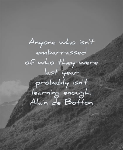 learning quotes anyone embarrassed who they were last year probably enough alain de botton wisdom man mountain alone