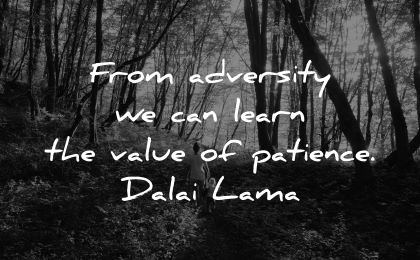 learning quotes from adversity learn value patience dalai lama wisdom nature forest walk