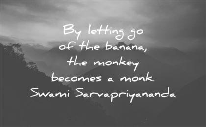 letting go quotes banana monkey becomes monk swami sarvapriyananda wisdom sunset