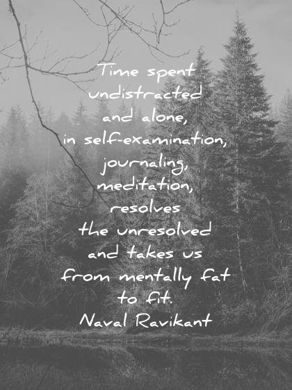 loneliness alone quotes time spent undistracted alone self examination journaling meditation resolves unresolved takes from mentally fat fit naval ravikant wisdom