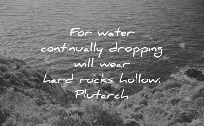 never give up quotes water continually dropping wear hard rocks hollow plutarch wisdom sea