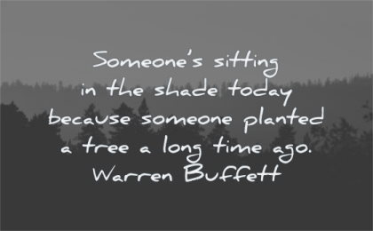 parenting quotes someones sitting shade today because someone planted tree long time ago warren buffett wisdom forest landscape