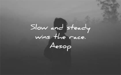 patience quotes slow steady wins race aesop wisdom silhouette