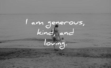 positive affirmations generous kind loving wisdom beach kid waves water