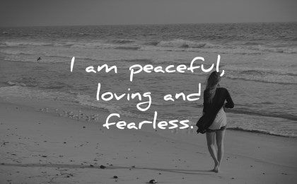 positive affirmations peaceful loving fearless wisdom woman beach