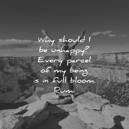 rumi quotes why should unhappy every parcel being full bloom wisdom man nature