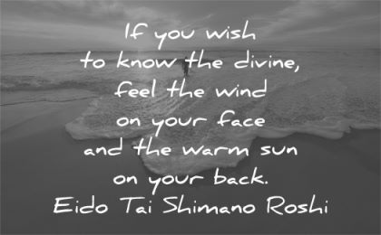 spiritual quotes wish know divine feel wind face warm sun back eido tai shimano roshi wisdom beach sea waves