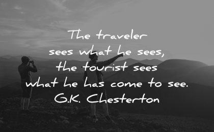 travel quotes traveler sees what tourist chesterton wisdom man silhouette nature mountains