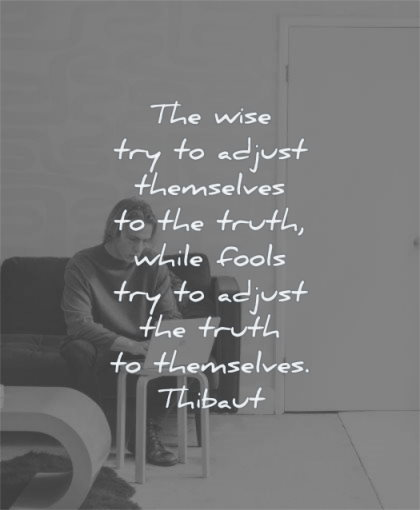 truth quotes wise try adjust themselves while fools adjust themselves thibaut wisdom man laptop working