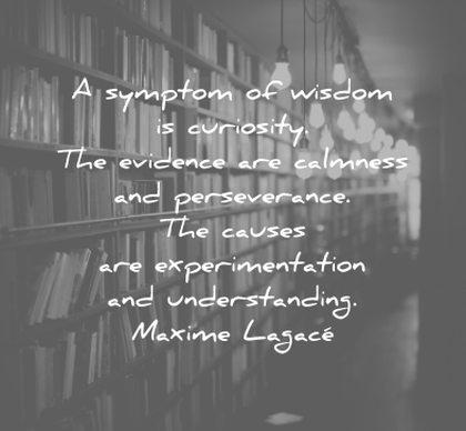 words of wisdom symptom curiosity evidence calmness perseverance causes experimentation understanding maxime lagace wisdom