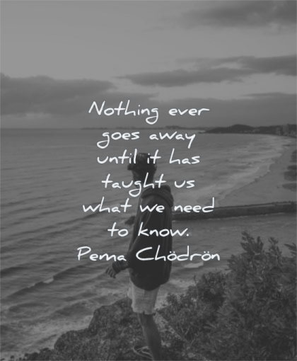 zen quotes nothing ever goes away until has taught what need know pema chodron wisdom man water sea standing